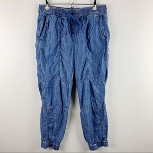 Gap Seamed Light Indigo Joggers Chambray Size M